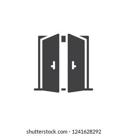 Open double door vector icon. filled flat sign for mobile concept and web design. Exit doorway simple solid icon. Pull door symbol, logo illustration. Pixel perfect vector graphics