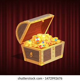 Open dower chest with diamonds, gold and silver coins. 3d view of box with lock and precious sign, brilliant and money in container, loot object vector. Red curtain theater background