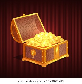 Open dower chest with gold and silver coins. 3d view of box with lock and precious sign, brilliant and money in container, loot object vector. Red curtain theater background