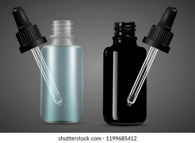 Open Dropper bottles set with pipette for medical products, vape e liquid, oil, serum and essence. Black and transparent glass cosmetic bottles mockup. Eps10 vector illustration.