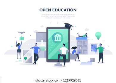 Open education concept. People gaining excess to high-quality learning materials and resources with the help of modern technologies. Students learning online