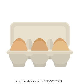 Open egg box with 6 brown eggs, flat vector design