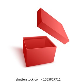 Open empty red paper box with flying cover in realistic 3d vector illustration isolated on white background - carton package for surprise and giving gift and present concept.