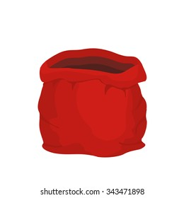 Open empty sack Santa Claus. Red big bag for gifts. Christmas and new year holiday bag