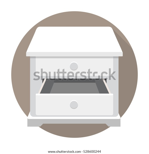 open empty white drawer vector flat design isolated on circle background