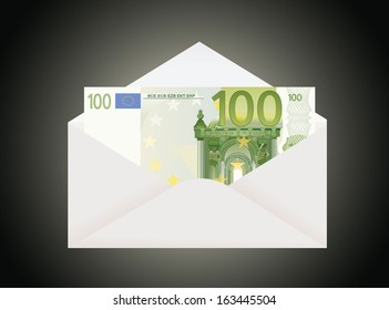 Open envelope with 100 euro