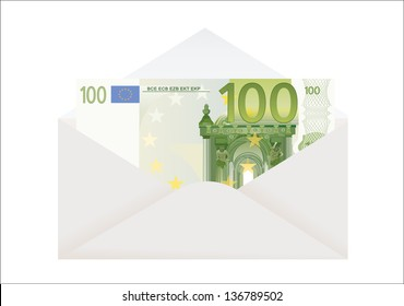 Open envelope with 100 euro on a white background