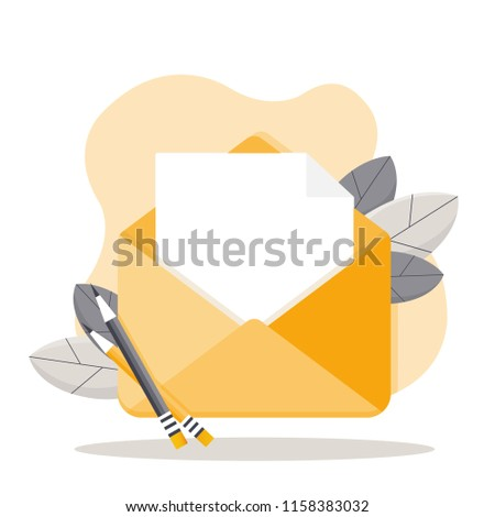 open envelope blank document new message stock vector royalty free