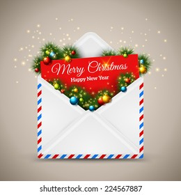 Open envelope and card Merry Christmas with fir tree branches. Vector illustration