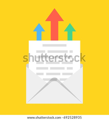 open envelope with email letter and arrows on the background email marketing internet advertising