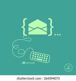 Open envelope icon and flat design elements. Design concept icons for application development, web page coding and programming, web design, creative process.