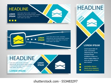 Open envelope icon  on horizontal and vertical banner. Open envelope symbol abstract banner, flyer design template.