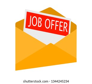 Open envelope with Job offer message.