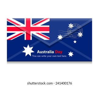 open envelope with a letter. Flag of the country. Australia, Canberra,Vector. Icon.