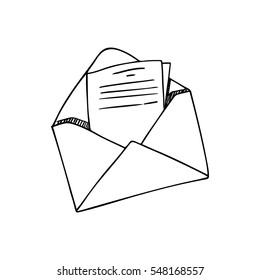 Open envelope with a letter, line drawing.