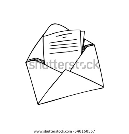 open envelope with a letter line drawing