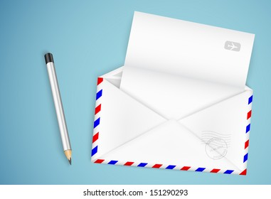 open envelope with a letter and a pencil