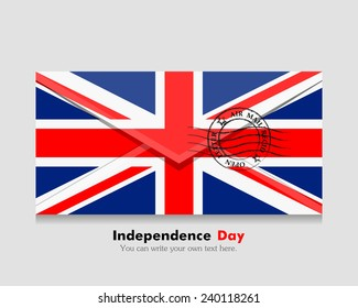 open envelope with a letter. Vector. Icon. Flag of Great Britain