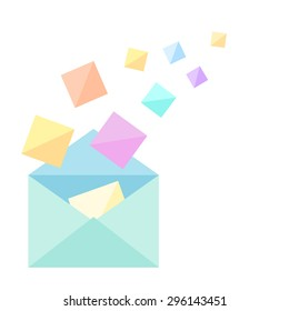 open envelope with sheets motley illustration