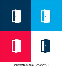 Open exit door four color material and minimal icon logo set in red and blue