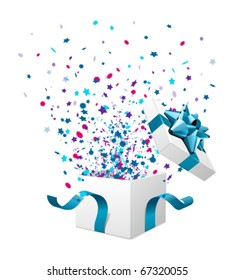 Open explore gift with fly stars vector