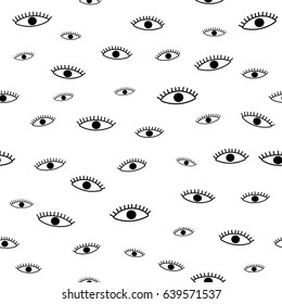 Open eyes seamless pattern, hand draw design.