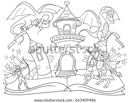 Open Fairy Coloring Book Tale Concept Stock Vector (Royalty Free ...