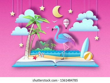 Open fairy tale book with flamingo and tropic beach landscape. Cut out paper art style design