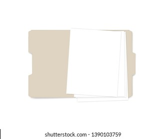 Open file folder with cut tab, realistic mockup. Letter size tabbed manila folder with empty paper sheets, vector template.