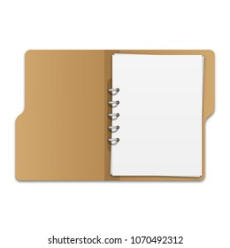 Open file folder with documents. Blank cardboard ring binder folder with stack of empty paper sheets. Vector illustration on white background