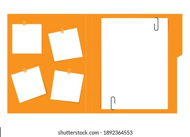 Open file folder with white leaf and sticky notes.Document case,paper case,notebook.Vector .