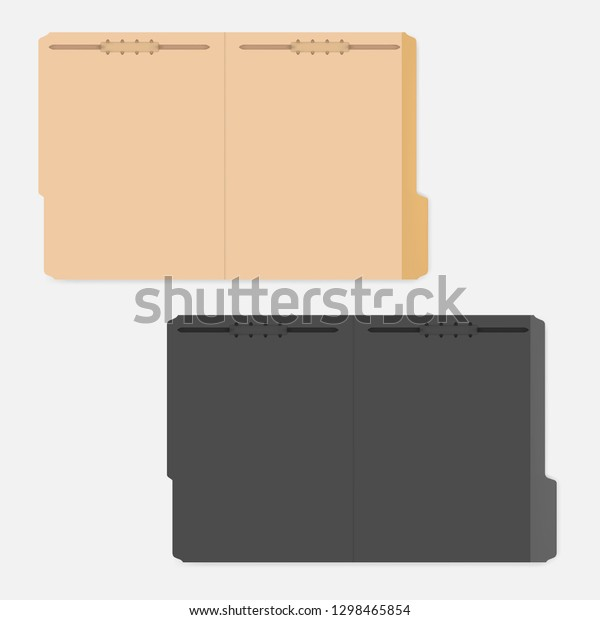 Open File Folders Tabs Fasteners Keep Stock Vector (Royalty Free