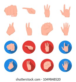 Open fist, victory, miser. Hand gesture set collection icons in cartoon,flat style vector symbol stock illustration web.