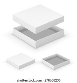 Open flat boxes design collection. White object on white background, vector illustration
