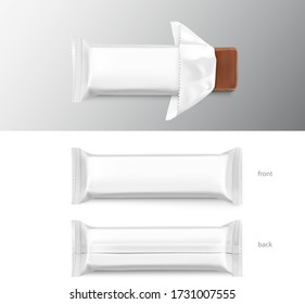 Open flow packaging mockup with bar. Vector illustration isolated on white background. Can be use for your design, promo, adv and etc. Possibility for food, pharmaceutical, cosmetic. EPS10.