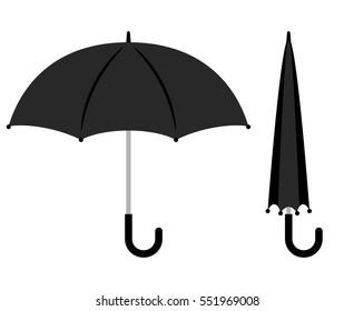 Open and folded black umbrella icons on white background. Vector illustration.