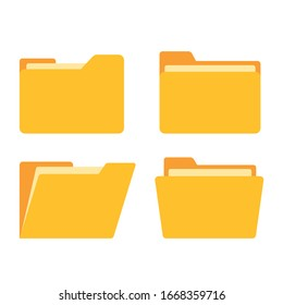 Open folder and close folder. Folders with documents. Four Folders icons. Vector illustration.