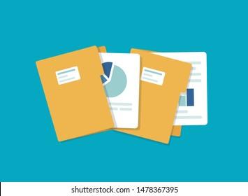 open folder icon. Folder with documents