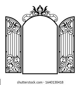 Open Forged Ornate Gate. Vector illustration.