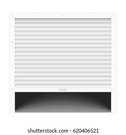 Open garage door. Template of background with roller shutters. Vector illustration in realistic style. EPS 10.