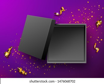 Open gift black box top view realistic vector illustration. Empty present box on purple background with gold confetti or golden spiral twisted tinsel., birthday, New Year or Christmas design