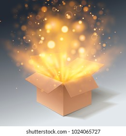 Open gift box with bokeh burst effect. Side view. Cardboard box. Isolated on a grey background. Vector illustration.