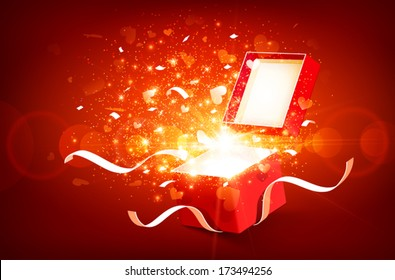 Open gift box with bright rays of light and flying hearts