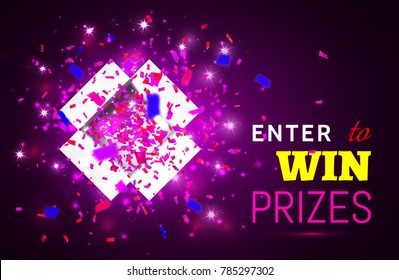 Open Gift Box and Confetti on pink background. Enter to Win Prizes. Vector Illustration.