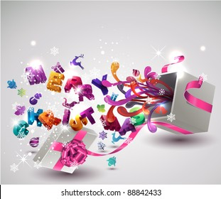 """Open  gift box with flying """"Merry Christmas"""" letters and Christmas icons. Vector background."""