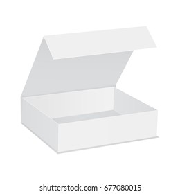 Open gift box with lid isolated on white background. Mockup for your design. Vector illustration