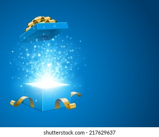 Open gift box and magic light fireworks Christmas vector background. Greeting card.
