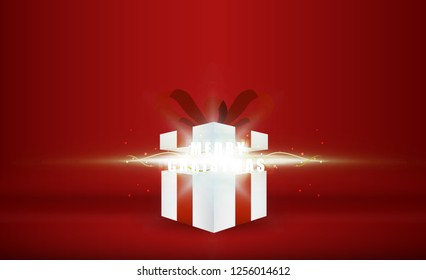 Open gift box with merry christmas bright rays of light. vector illustration