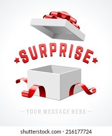 Open gift box with red bow and ribbon vector background. Surprise message.