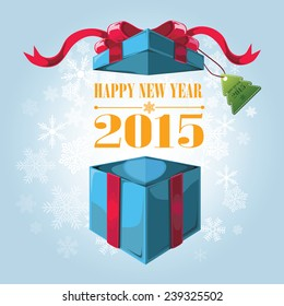 Open gift box and with red bow and ribbon vector background. 2015 happy new year.